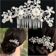 Bridal Wedding Flower Crystal Rhinestone Hair Clip Comb Pin Silver BEST