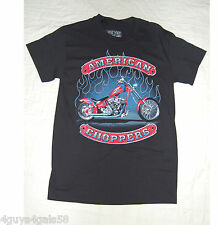 MENS Tee Shirt AMERICAN CHOPPERS Motorcycle BLACK Red Blue Flames L 42-44