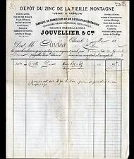 """ORLEANS (45) ZINC de LA VIEILLE MONTAGNE / CHANDELIERS """"JOUVELLIER"""" voyagée 1887"""