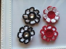 8 X  APROX 45 mmCROCHET FLOWERS 4 RED AND WHITE & 4 BLACK &WHITE WITH STONE
