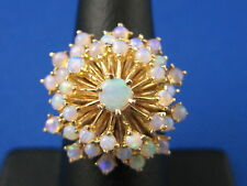 VINTAGE 14K YELLOW GOLD OPAL CLUSTER COCKTAIL RING SIZE 6.75