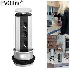 EVOline Power Port ausz. Steckdose versenkbar silber Küche Schreibtisch Schulte