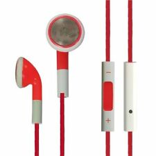 RED HANDSFREE WITH Volume Control Double Earbud InEar FOR APPLE IPHONE IPOD IPAD