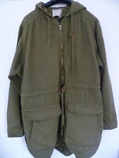 ZARA SIZE L LADIES KHAKI GREEN COTTON ARMY STYLE PARKA COAT JACKET WITH HOOD
