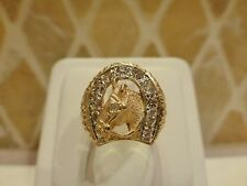 Antique 14k yellow gold horse head equestrian horseshoe ring old euro diamond