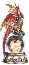 COHORTS  Red Dragon on Snow Globe -Pirate Skull  Statue figurine  H7.88""