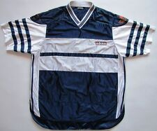 Adidas 1990s polyester shirt shiny navy blue 90er true vintage mens Large D8