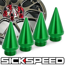 4 PC GREEN ALUMINUM EXTENDED TUNER SPIKES WHEELS/RIM SICKSPEED LUG NUT P4