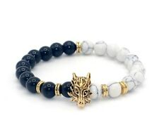 New Men's Gold Plated Wolf Charm Bracelet Natural Stone Beads