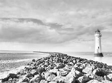 LIGHTHOUSE BLACK AND WHITE JETTTY WHARF SEASCAPE PRINT POSTER PICTURE BMP1399A