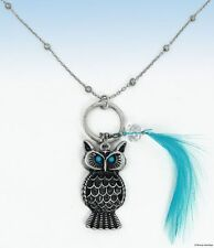 Antiqued Silver-Tone OWL Pendant w Blue FEATHER Accent NECKLACE