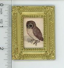 Dollhouse Miniature Gold Framed Picture of an Owl