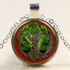Vintage tree of life Cabochon Tibetan silver Glass Chain Pendant Necklace F71