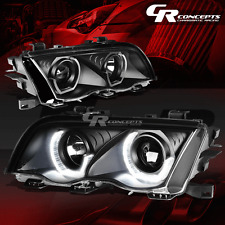 FOR 99-01 E46 3-SERIES BLACK HOUSING/AMBER LED SIDE MARK SIGNAL 3D HEAD LIGHTS