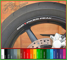 8 x DUCATI PIKES PEAK Wheel Rim Stickers Decals - Many Colours - multistrada