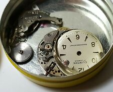 Vintage ladies Clinton mechanical watch movement parts in tin #70DAV