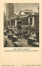 NYC MANHATTAN PUBLIC LIBRARY 5TH AVE. & 42ND ST.POSTCARD