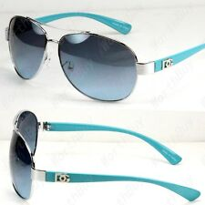 New DG Eyewear Mens Sunglasses Shades Fashion Designer Silver Blue Pilot Classic