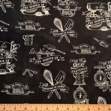 BY YARD-In the Kitchen Toile Fabric Robert Kaufman 15456-184 Charcoal