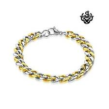 Silver gold classic chain bracelet stainless steel 215mm long