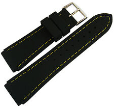 20mm Hadley-Roma MS3345 Black Silicone Rubber Yellow Stitch Watch Band Strap