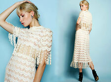 Vintage 1970s Mollie Parnis white lace fringe Sheer Cape Hippie Wedding Dress M