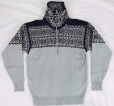 Vtg Demetre Mens S Pure Virgin Wool Ski Sweater Half Zip Gray Black