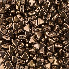 Tchèque kheops par puca 2 trous triangle perles bronze foncé 6mm 9g tube (K103/6)