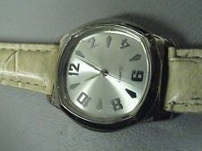 Quartz ladies watch 8 inch band looks unworn tan and stainless new battery A+