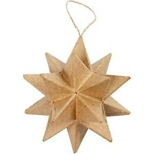 Paper Mache 3D 9cm Star Hanging Christmas Decoration Brown Decorate Hand Made