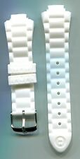 Michele Mans Tahitian Jelly Bean White Silicon Band with shiny Silver buckle