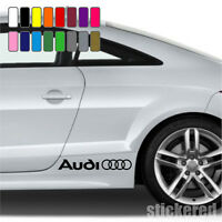 2 x AUDI LOGO RINGS CAR VINYL STICKERS / DECALS SIDE SKIRT GRAPHICS 16 COLOURS