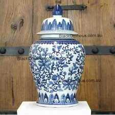 Ginger Jar Blue and White, 46cm, Lotus Temple Jar, Porcelain Vase with Lid,