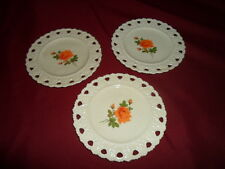 Hand Crafted Milk Glass Open Heart Lace Scalloped Edge 3 Plates  - Orange Flower