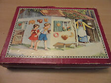 Antique childs Victorian German? Picture puzzle blocks toy with box