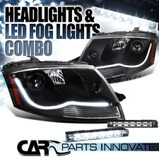 1999-2006 Audi TT Black LED DRL Strip Projector Headlights+6-LED Fog Bumper DRL