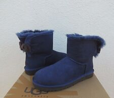 UGG NAVY BLUE MINI BAILEY KNIT BOW SHEEPSKIN BOOTS, WOMENS US 6/ EUR 37 ~NIB