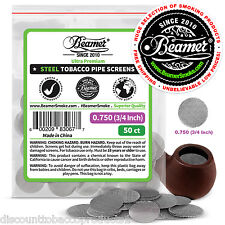 """50 Beamer Stainless Steel Tobacco Smoking Pipe Screens .750""""Compre2 Glass, Brass"""