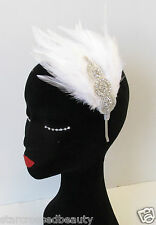 White & Silver Rhinestone Feather Headpiece Flapper Vintage 1920s Headband M95