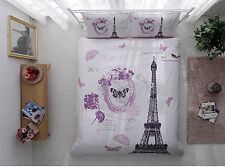 Lilac Paris Eiffel Tower Bedding Set Quilt/Duvet Cover Set 3pcs Twin Parisienne