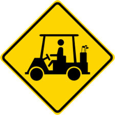 3M HIA Reflective GOLF CART CROSSING SYMBOL Road Sign - DOT Compliant 30 x 30