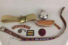 Mixed Lot Boy Cub Scout BSA Badge Patch Belt Buckle Metal Bottle Vintage