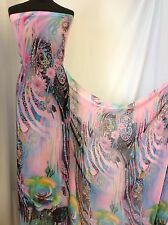 "NEW Designer Multicolour Chiffon Paisley Print Rose Border Floral Fabric 60"" Sew"