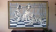 """Anderson - Oil Painting on Canvas - """"Dalmatians"""" Signed"""