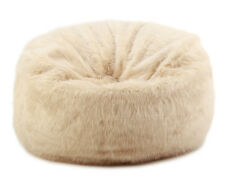 LARGE LUSH & SOFT IVORY FOX FAUX FUR BEAN BAG CLOUD BEAN BAG CHAIRS COVER