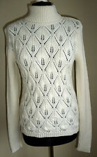 Liz Claiborne Cream Chunky Cable Knit Jumper Size Small (UK Size 10)