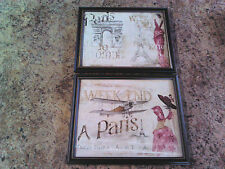 2 Paris Pictures Victorian Lady Plaques Wall Hanging Home Deco