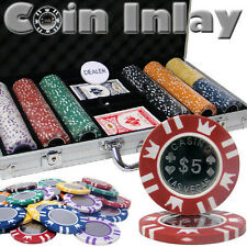 NEW 300 Pc Coin Inlay 15 Gram Clay Denomination Poker Chips Set Aluminum Case