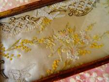 An Exquisite Victorian Embroidered Silk Framed Within Gold Metal Pin Dish C.1880