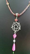 Skull and Inverted Pentacle/Pentagram Necklace - Gothic/Goth/Rainbow Pink Beads